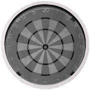 The Dart Board In Black And White Round Beach Towel