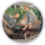 The Daughters Of The Artist In The Garden Round Beach Towel