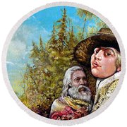The Dauphin And Captain Nemo Discovering Bogomils Island Round Beach Towel
