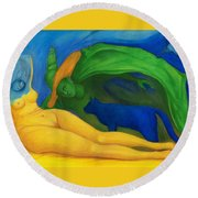The Day And Night. Round Beach Towel