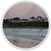 The Day Is Done At Long Sands Beach Round Beach Towel