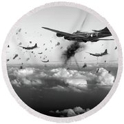 The Day Job Black And White Version Round Beach Towel