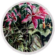 The Day Lilies Round Beach Towel