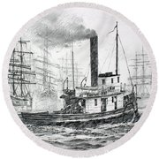 The Days Of Steam And Sail Round Beach Towel
