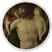 The Dead Christ Supported By Angels Round Beach Towel