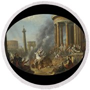The Death Leap Of Marcus Curtius Round Beach Towel