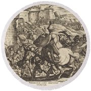The Death Of Abimelech Round Beach Towel