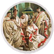 The Death Of Julius Caesar  Round Beach Towel