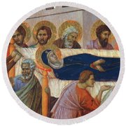 The Death Of Mary Fragment 1311 Round Beach Towel
