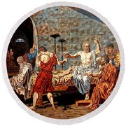 The Death Of Socrates Round Beach Towel