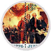 The Declaration Of Independence  Round Beach Towel by Lanjee Chee