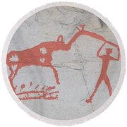 The Deer And Female Hunter Round Beach Towel