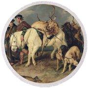 The Deerstalkers Return Round Beach Towel by Sir Edwin Landseer