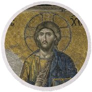 The Dees Mosaic In Hagia Sophia Round Beach Towel