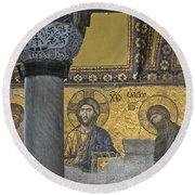 The Deesis Mosaic With Christ As Ruler At Hagia Sophia Round Beach Towel