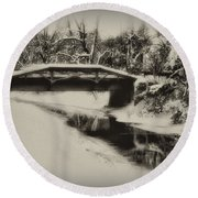 The Delaware Canal At Washingtons Crossing  Round Beach Towel