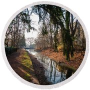 The Delaware Canal In New Hope Pa Round Beach Towel