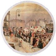 The Departure Of The Volunteers 1792 Round Beach Towel