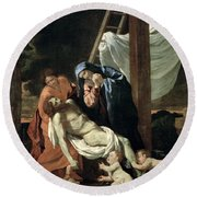 The Deposition Round Beach Towel by Nicolas Poussin