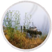 The Derelict Mary D. Hume Round Beach Towel