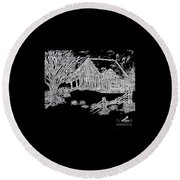 The Deserted Cabin At Night Round Beach Towel