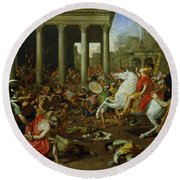 The Destruction Of The Temples In Jerusalem By Titus Round Beach Towel by Nicolas Poussin