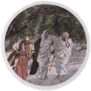 The Disciples On The Road To Emmaus Round Beach Towel by Tissot