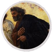 The Disciples Peter And John Running To The Sepulchre On The Morning Of The Resurrection Round Beach Towel