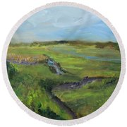 The Distant View Of The Marsh Round Beach Towel
