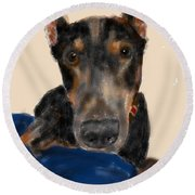 The Doberman Round Beach Towel