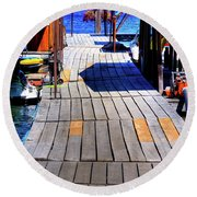 The Dock At Hill's Resort Round Beach Towel