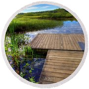 The Dock At Mountainman Round Beach Towel