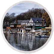 The Docks At Boathouse Row - Philadelphia Round Beach Towel