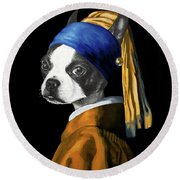 The Dog With A Pearl Earring Round Beach Towel