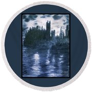 The Dolceacque Castle In Pencil Round Beach Towel