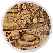 The Doll, The Kitties And The Gingerbread Boy Round Beach Towel
