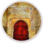 The Door To Alhambra Round Beach Towel