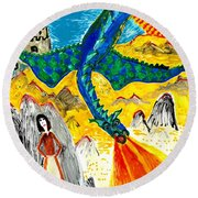 The Dragon Round Beach Towel by Sushila Burgess
