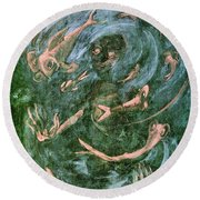 The Dream Of The Fish 1 By Walter Gramatte Round Beach Towel