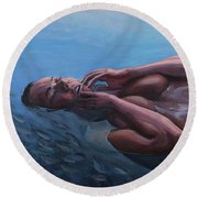 The Dreaming Mermaid Round Beach Towel