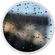 The Droplet Curtain Round Beach Towel