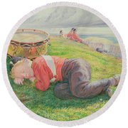 The Drummer Boy's Dream Round Beach Towel by Frederic James Shields