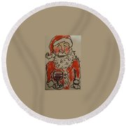 The Drunken Santa Round Beach Towel