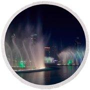 The Dubai Fountain At Burj Khalifa Round Beach Towel
