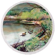 The Duck Pond Round Beach Towel
