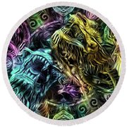 The Duel Of The Dragons  Round Beach Towel