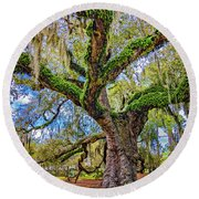 The Dueling Oak 2 Round Beach Towel