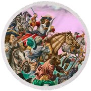 The Duke Of Monmouth At The Battle Of Sedgemoor Round Beach Towel