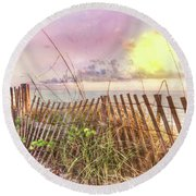 The Dunes In Watercolors Round Beach Towel