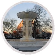 The Dupont Circle Fountain Without Water Round Beach Towel